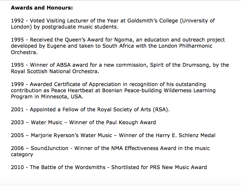Eugene Skeef awards and honours